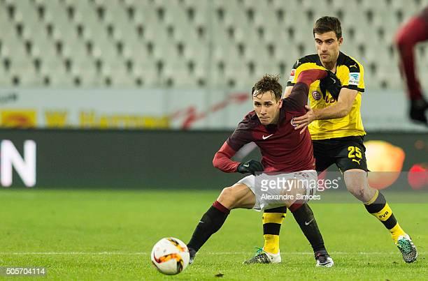 Josef Sural of Sparta Prague challenges Ilkay Guendogan of Borussia Dortmund during the preseason friendly match between Borussia Dortmund v Sparta...