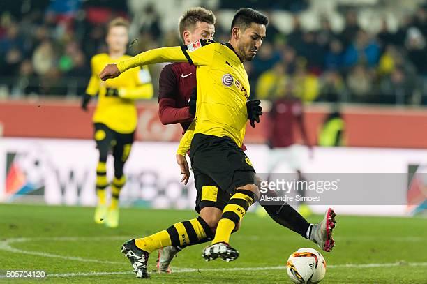 Josef Sural of Sparta Prague challenges Ilkay Guendogan of Borussia Dortmund during the friendly match between Borussia Dortmund v Sparta Prague on...