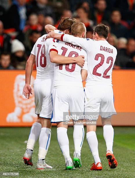 Josef Sural of the Czech Republic celebrates with team mates Jiri Skalak and Vladimir Darida as he scores their second goal during the UEFA EURO 2016...