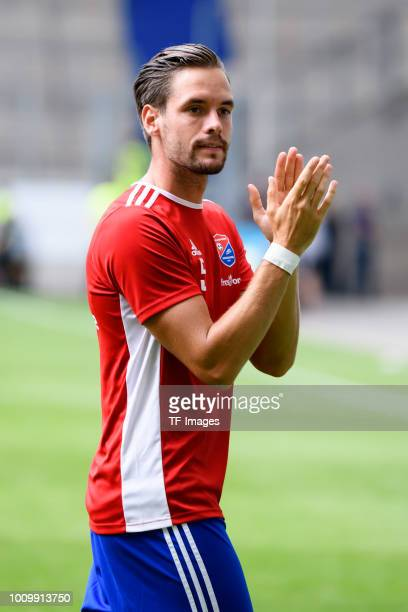 Josef Welzmueller of Haching celebrates after winning the 3 Liga match between KFC Uerdingen 05 and SpVgg Unterhaching at GrotenburgStadion on July...