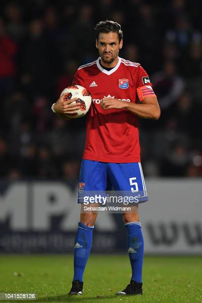 Josef Welzmueller of Unterhaching holds the ball in his hands during the 3 Liga match between SpVgg Unterhaching and TSV 1860 Muenchen at Alpenbauer...