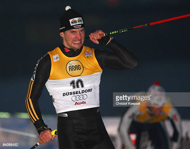 Josef Wenzel of Germany celebrates his fith palce of the men's sprint during the FIS Cross Country World Cup at the Dusseldorf city circuit on...