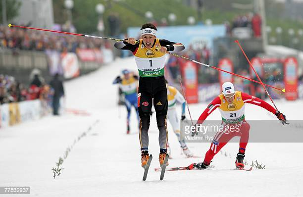 Josef Wenzl of Germany celebrates after winning the men sprint final during the FIS Cross Country World Cup at the Dusseldorf city circuit on October...