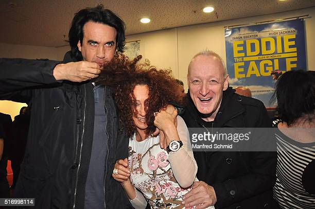 Josef Winkler Christina Lugner and Gary Howard attend the 'Eddie The Eagle' Austria premiere at Lugner Lounge Kino on March 22 2016 in Vienna Austria