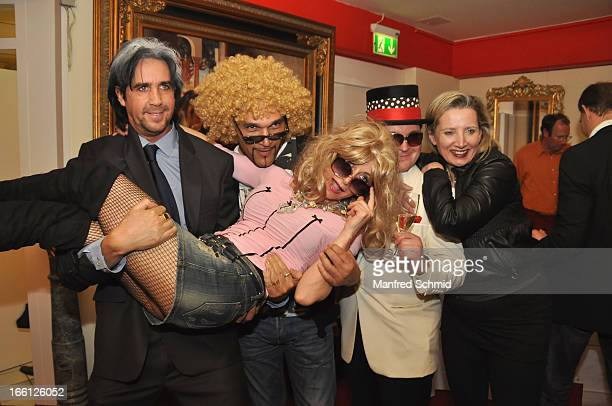 Josef Winkler Cyril Radlher Christina Mausi Lugner Michael Reimer and Verena Auersperg Rotterdam pose during the 'Pretty Woman' Party at FunPalast on...