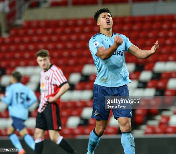 Josef Yarney of Newacastle United celebrates as Newcastle equalise during the Premier League International Cup between Sunderland and Newcastle...