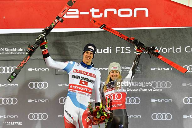 Josef Zenhausern takes 1st place Mikaela Shiffrin of USA takes 1st place during the Audi FIS Alpine Ski World Cup Men's and Women's City Event on...
