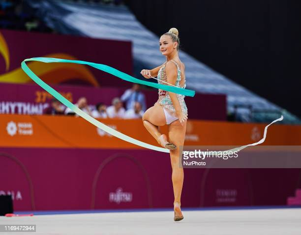 Josefie Kristensen of Denmark during the 37th Rhythmic Gymnastics World Championships at the National Gymnastics Arena in Baku, Azerbaijan on...