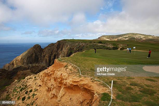 JoseFilipe Lima of Portugal putts at the 14th hole during the Madeira Islands Open BPI previews at the Porto Santo Golfe Club on March 18 2009 in...