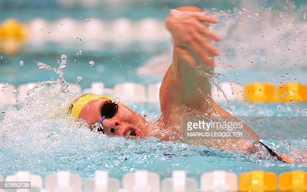 Josefin Lillhage of Sweden competes in the women's 200m freestyle heats during the Swimming Short Course European Championship 2004 in Vienna 12...