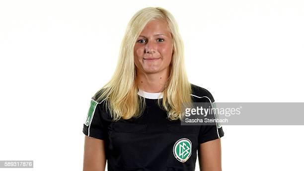 Josefin Reinsch poses during the DFB women's referee team presentation at Sportzentrum Kamen Kaiserau on August 13 2016 in Kamen Germany