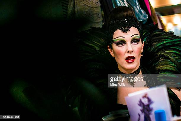 Josefina Gabriella playing 'Evil Witch' prepares in her dressing room prior to the Puss in Boots pantomime at the Hackney Empire on December 6 2013...