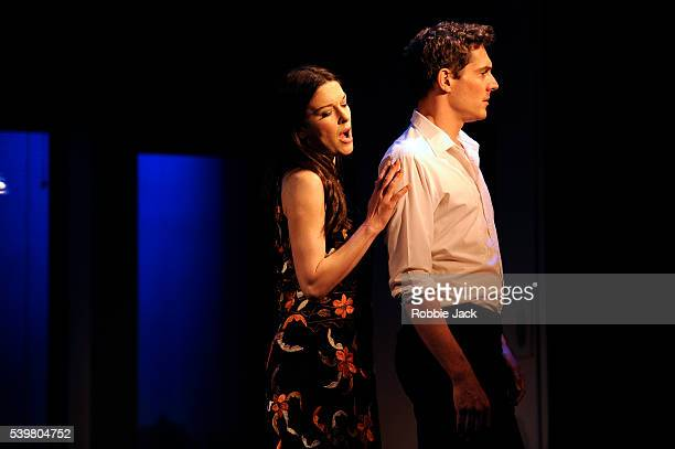 Josefina Gabrielle as Gussie and Mark Umbers as Franklin Shepard in Stephen Sondheim and George Furth's Merrily We Roll Along directed by Maria...