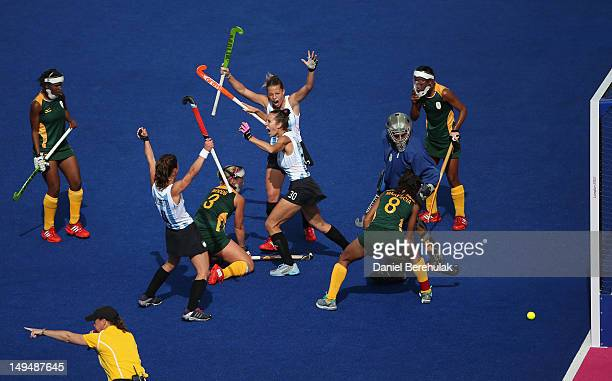 Josefina Sruoga of Argentina celebrates scoring her team's second goal during the Women's Pool WB Match W04 between Argentina and South Africa at the...