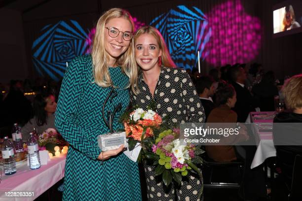 Josefina Vilsmaier and her sister Janina Vilsmaier with the Joseph Vilsmaier Award during the festival night and award ceremony of the 8th Kitzbuehel...