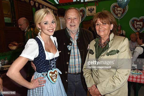 Josefina Vilsmaier, Joseph Vilsmaier and Charlotte Knobloch attend the BMW Armbrustschiessen at Armbrust-Schuetzenfesthalle during the Oktoberfest...