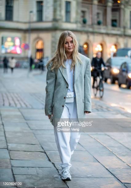 Josefine Haaning Jensen seen wearing blazer, white jogger pants outside Lovechild on Day 1 during Copenhagen Fashion Week Autumn/Winter 2020 on...