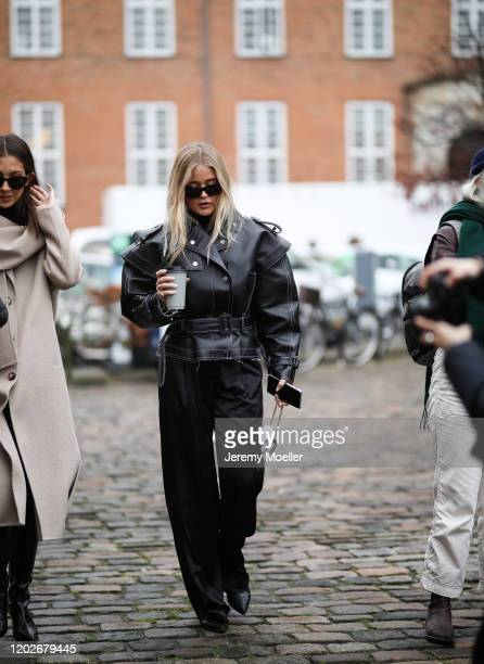 Josefine Haaning Jensen wearing a mini Valentino bag before Mykke Hofmann on January 28, 2020 in Copenhagen, Denmark.