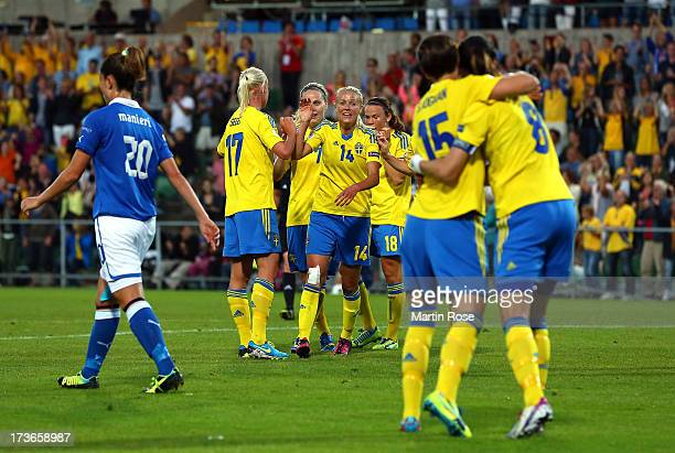 Josefine Oeqvist of Sweden celebrate with her team mates after scoring the 3rd goal the UEFA Women's Euro 2013 group A match between Sweden and Italy...
