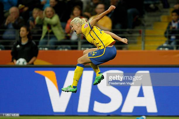 Josefine Oeqvist of Sweden celebrates after scoring her team's first goal during the FIFA Women's World Cup Semi Final match between Japan and Sweden...