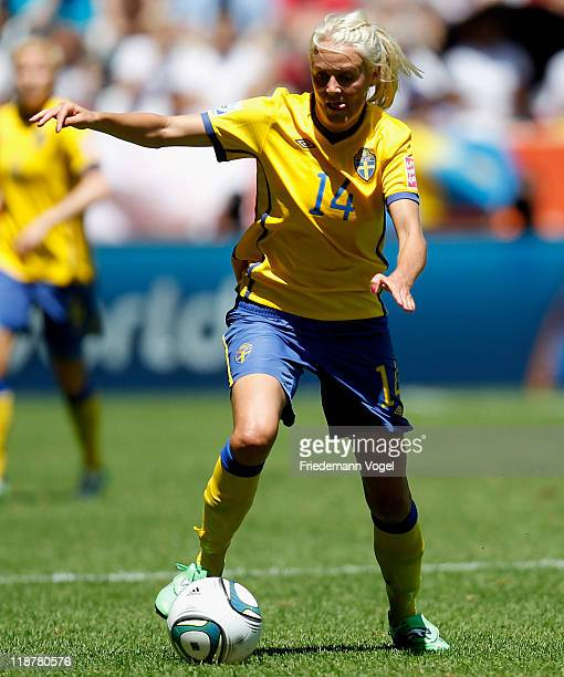 Josefine Oeqvist of Sweden runs with the ball during the FIFA Women's World Cup 2011 Quarter Final match between Sweden and Australia at the FIFA...
