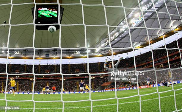 Josefine Oeqvist of Sweden scores her team's first goal during the FIFA Women's World Cup Semi Final match between Japan and Sweden at the FIFA World...