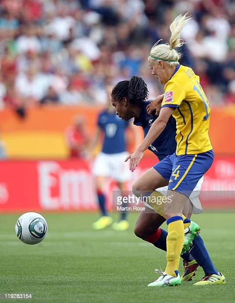 Josefine Oqvist of Sweden and Laura Georges of France battle for the ball during the FIFA Women's World Cup 2011 3rd place playoff match between...