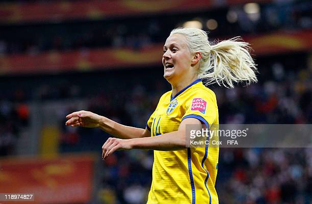 Josefine Oqvist of Sweden celebrates after scoring the first goal against Japan during the FIFA Women's World Cup Semi Final match between Japan and...