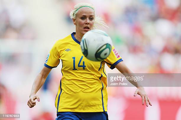Josefine Oqvist of Sweden controls the ball during the FIFA Women's 3rd Place Playoff match between Sweden and France at RheinNeckar Arena on July 16...