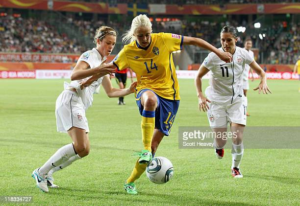 Josefine Oqvist of Sweden in action during the FIFA Women's World Cup 2011 Group C match between Sweden and USA at the Arena In Allerpark on July 6...