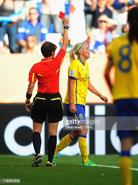 Josefine Oqvist of Sweden is sent off by referee Kari Seitz during the FIFA Women's World Cup 2011 3rd Place Playoff between Sweden and France at...