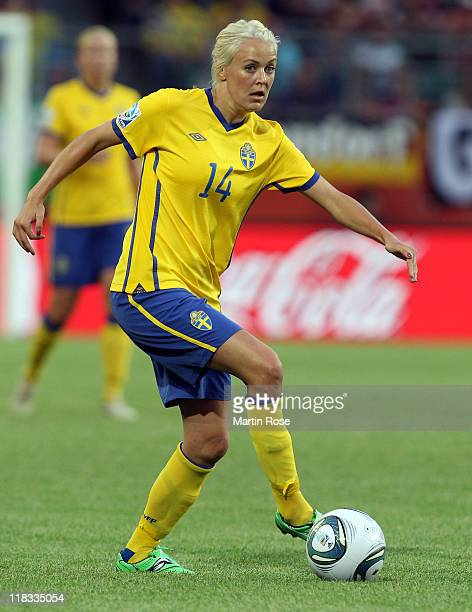 Josefine Oqvist of Sweden runs with the ball during the FIFA Women's World Cup 2011 Group C match between Sweden and USA at Wolfsburg Arena on July 6...