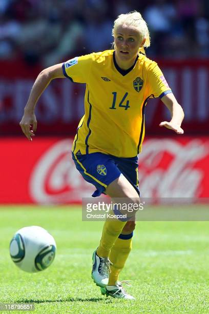 Josefine Oqvist of Sweden runs with the ball during the FIFA Women's World Cup 2011 Quarter Final match between Sweden and Australia at the FIFA...