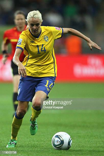 Josefine Oqvist of Sweden runs with the ball during the FIFA Women's World Cup Semi Final match between Japan and Sweden at the FIFA World Cup...