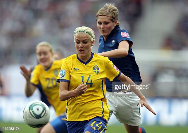 Josefine Oqvist of Sweden runs with the ball during the FIFA Women's World Cup 2011 3rd place playoff match between Sweden and France at RheinNeckar...