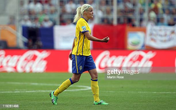 Josefine Oqvist of Sweden walks off the pitch after she gets the red card during the FIFA Women's World Cup 2011 3rd place playoff match between...