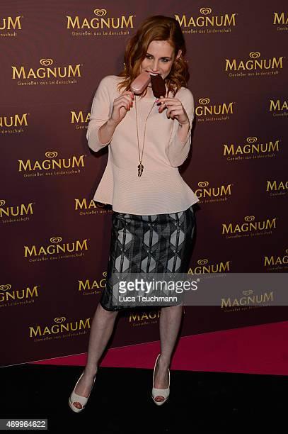 Josefine Preuss attends Magnum Hosts 'Moments In Pink Black' Vernissage on April 16 2015 in Berlin Germany