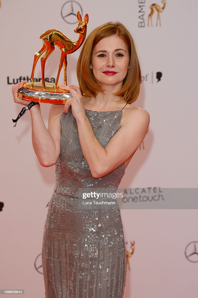 Josefine Preuss poses with her award during Kryolan at the Bambi Awards 2014 on November 13, 2014 in Berlin, Germany.