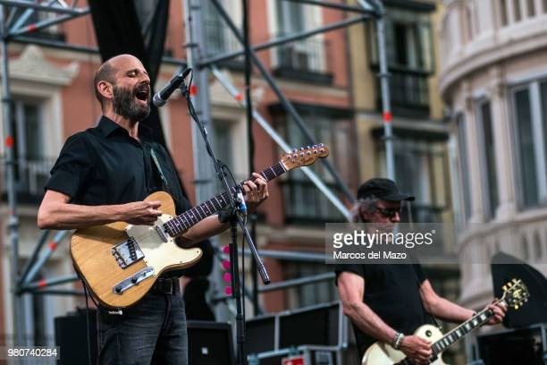 Josele Santiago and Manolo Benitez of 'Los Enemigos' band performing in Callao Square during World Music Day