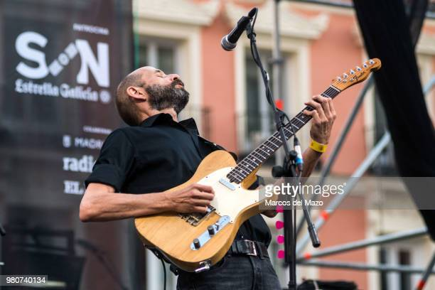 Josele Santiago of 'Los Enemigos' band performing in Callao Square during World Music Day