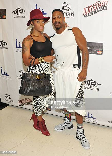 Joseline Hernandez and Stevie J attends the LUDA vs YMCMB celebrity basketball game at Georgia State University Sports Arena on August 31 2014 in...