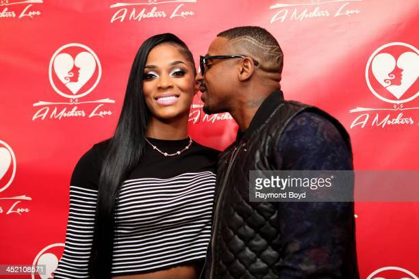 Joseline Hernandez and Stevie J from 'VH1's 'Love HipHop Atlanta' poses for red carpet photos for 'A Mother's Love' stage play at the Rialto Center...