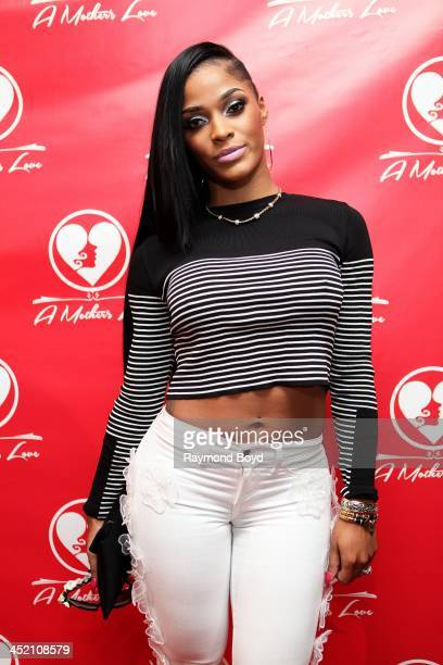 Joseline Hernandez from 'VH1's 'Love HipHop Atlanta' poses for red carpet photos for 'A Mother's Love' stage play at the Rialto Center For The Arts...