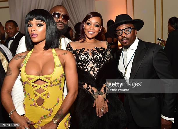 Joseline Hernandez Rick Ross Monica and Anthony Hamilton attend Rick Ross Private Birthday affair at Rick Ross Mansion on January 28 2016 in Atlanta...