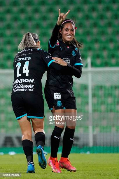 Joseline Montoya and Alicia Cervantes of Chivas celebrate during a match between Santos and Chivas as part of the Torneo Grita Mexico A21 Liga MX...