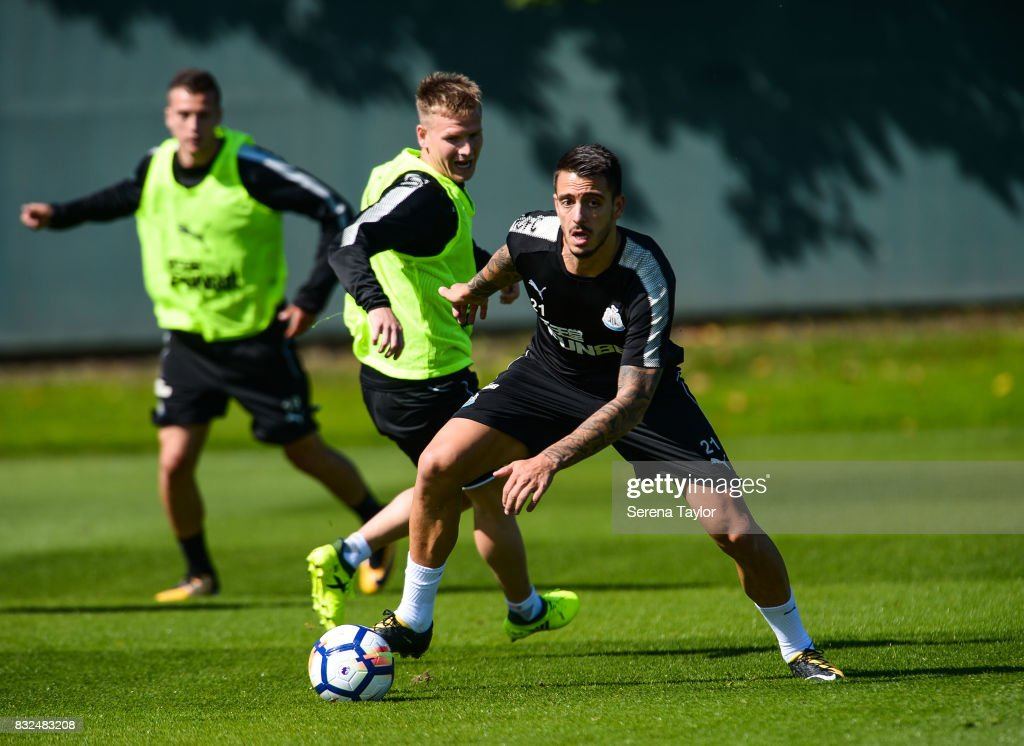 Joselu controls the ball during his first Newcastle United Training session at the Newcastle United Training Centre on August 16, 2017, in Newcastle upon Tyne, England.