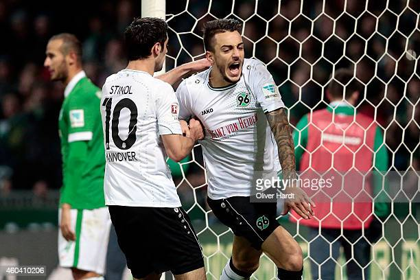 Joselu Mato of Hannover celebrates after scoring their first goal during the First Bundesliga match between SV Werder Bremen and Hannover 96 at...