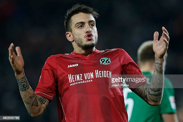 Joselu of Hannover gestures during the Bundesliga match between Hannover 96 and FC Augsburg at HDIArena on December 16 2014 in Hanover Germany