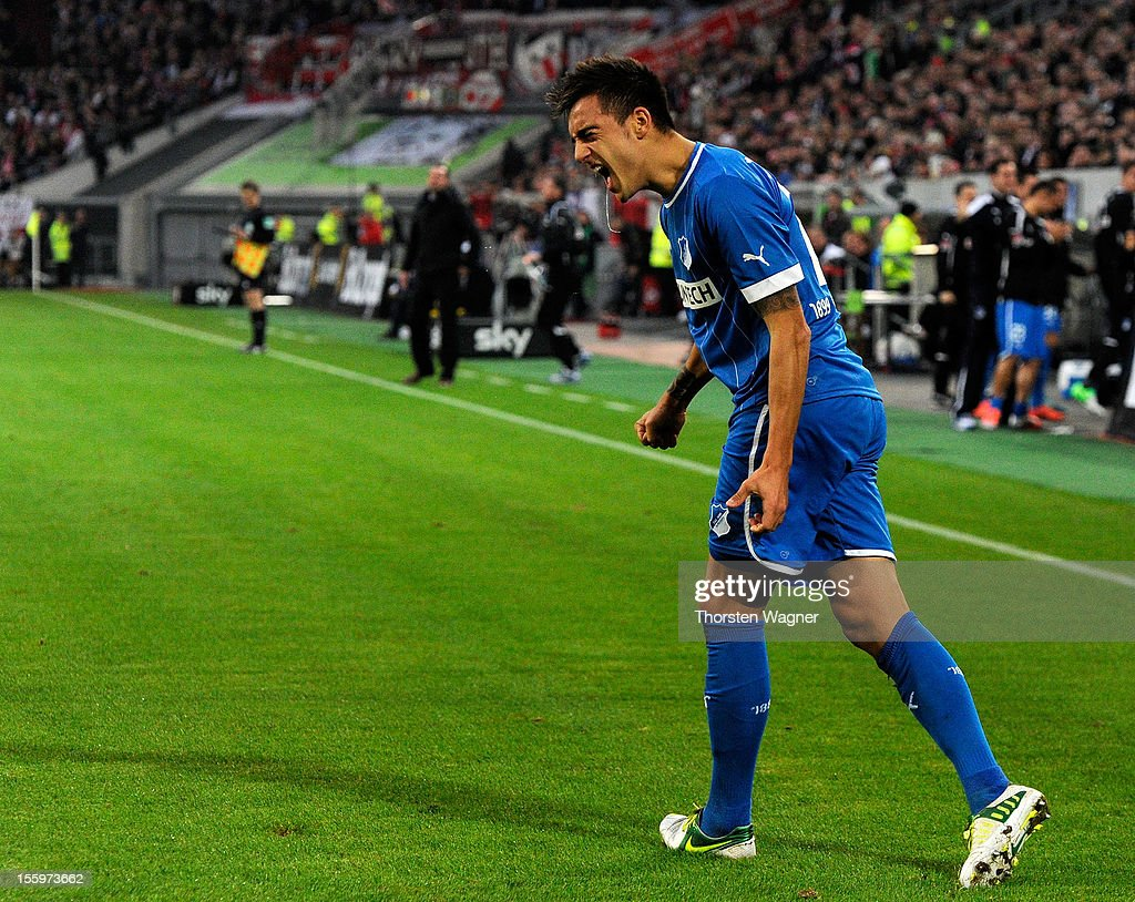Joselu of Hoffenheim celebrates after scoring his teams first goal during the Bundesliga march between Fortuna Duesseldorf and TSG 1899 Hoffenheim at Esprit-Arena on November 10, 2012 in Duesseldorf, Germany.