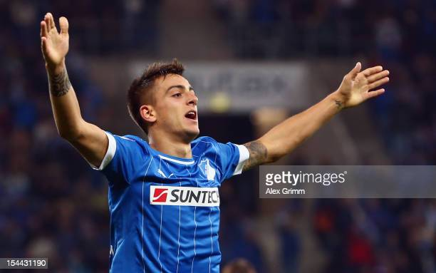 Joselu of Hoffenheim celebrates his team's second goal during the Bundesliga match between 1899 Hoffenheim and SpVgg Greuther Fuerth at...